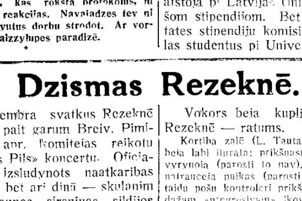 Dzīsmis Rēzeknē /Vacūs gazetu viests