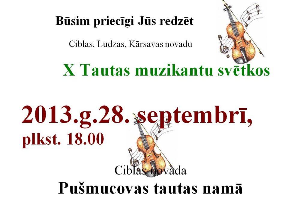 Pušmucovā nūtiks X Tautys muzykantu svātki