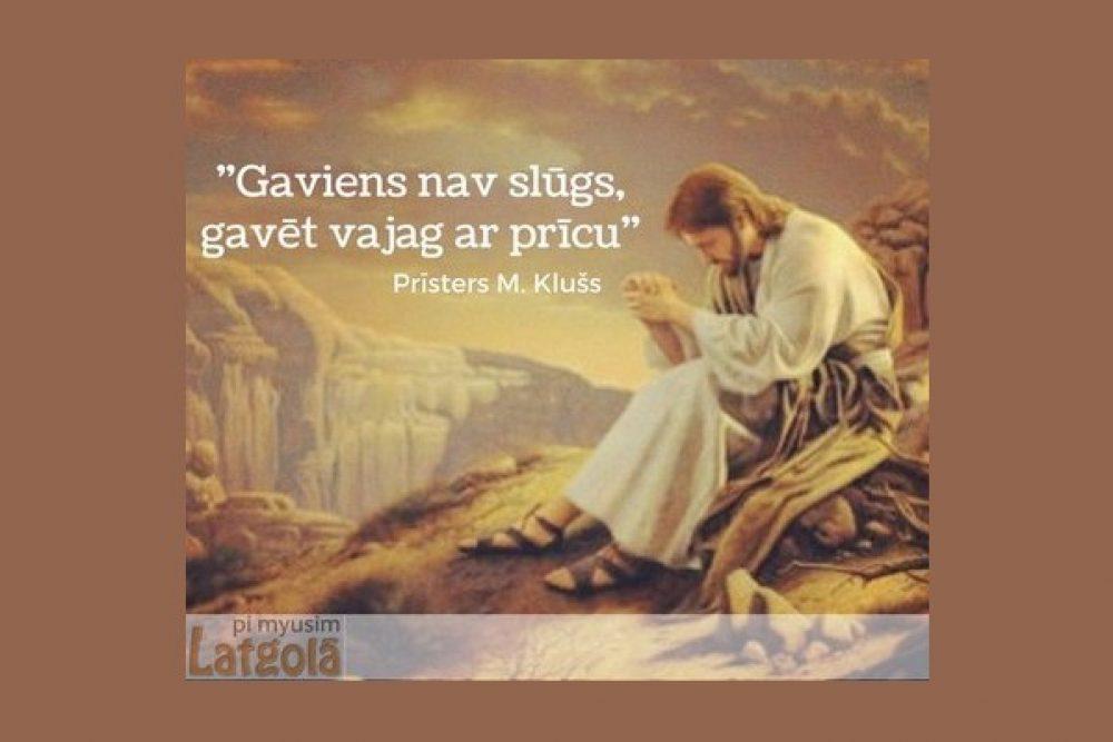 """""""Pi myusim Latgolā"""" saruna ar prīsteri Muorteņu Klušu par gavieni"""