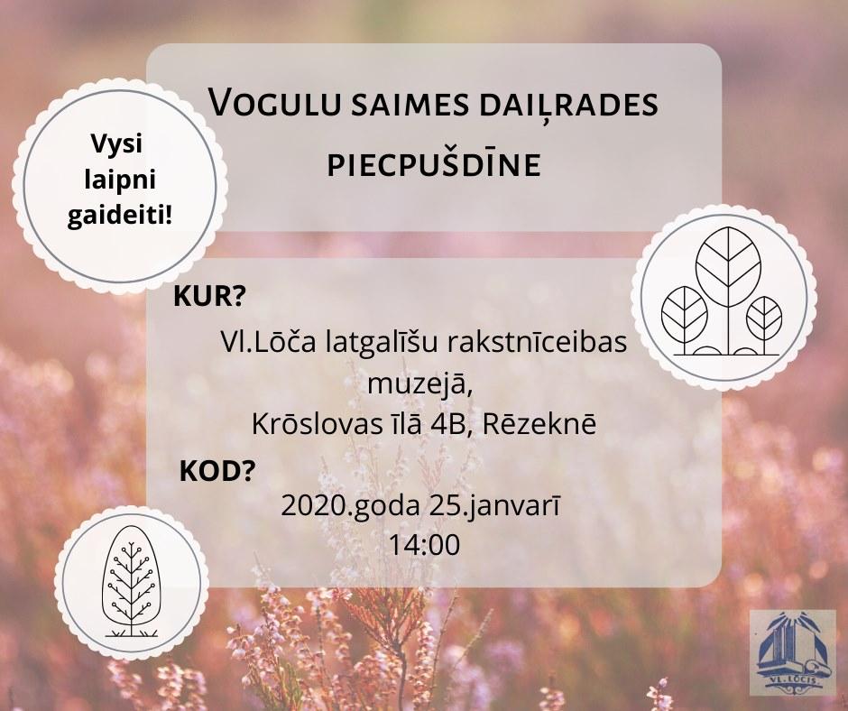 Vogulu saimis daiļradis piecpušdīne @ Vl. Lōča latgalīšu rakstnīceibys muzejs