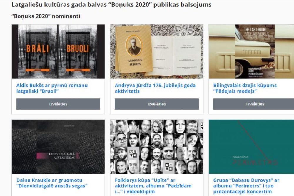 "Suocīs Latgalīšu kulturys goda bolvys ""Boņuks"" publikys simpatejis bolsuojums"
