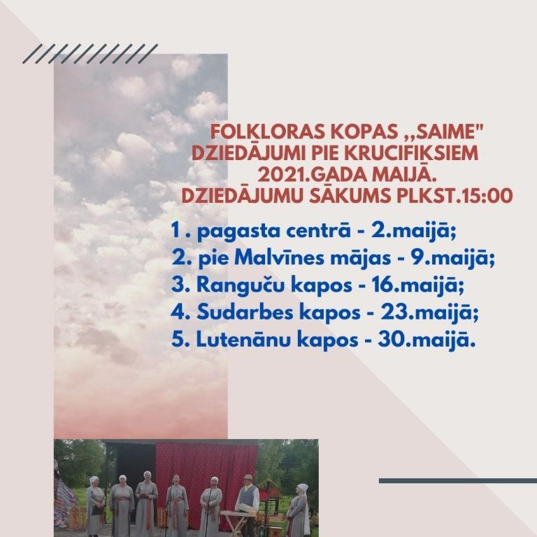 """Folklorys kūpys """"Saime"""" dzīduojumi pi krystu @ Vactilžys pogosts, Bolvu nūvods"""